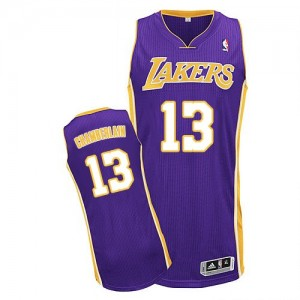 Maillot Adidas Violet Road Authentic Los Angeles Lakers - Wilt Chamberlain #13 - Homme