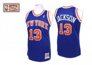 New York Knicks #13 Mitchell and Ness Throwback Bleu royal Authentic Maillot d'équipe de NBA la meilleure qualité - Mark Jackson pour Homme