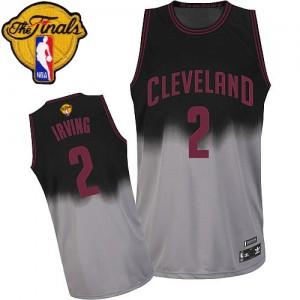Cleveland Cavaliers Kyrie Irving #2 Fadeaway Fashion 2015 The Finals Patch Authentic Maillot d'équipe de NBA - Gris noir pour Homme