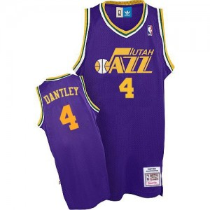 Maillot NBA Utah Jazz #4 Adrian Dantley Violet Adidas Authentic Throwback - Homme