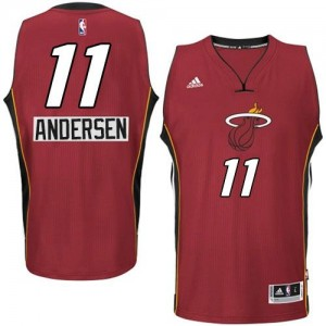 Maillot NBA Rouge Chris Andersen #11 Miami Heat 2014-15 Christmas Day Authentic Homme Adidas