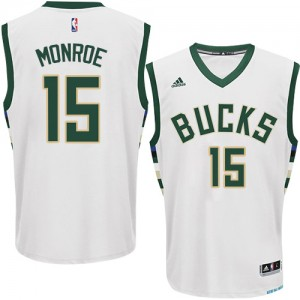 Maillot NBA Authentic Greg Monroe #15 Milwaukee Bucks Home Blanc - Homme