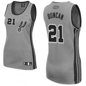 Maillot Adidas Gris argenté Alternate Authentic San Antonio Spurs - Tim Duncan #21 - Femme
