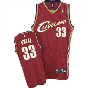 Maillot NBA Cleveland Cavaliers #33 Shaquille O'Neal Rouge Adidas Authentic Throwback - Homme
