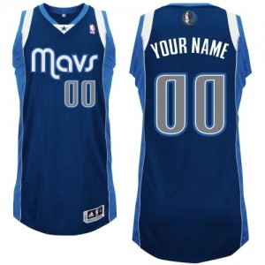 Maillot NBA Dallas Mavericks Personnalisé Authentic Bleu marin Adidas Alternate - Enfants