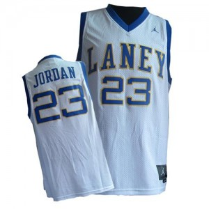 Maillot NBA Chicago Bulls #23 Michael Jordan Blanc Nike Authentic Throwback Laney High School Classic - Homme