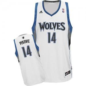 Minnesota Timberwolves #14 Adidas Home Blanc Swingman Maillot d'équipe de NBA la meilleure qualité - Nikola Pekovic pour Homme