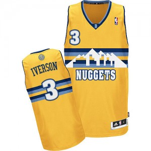 Denver Nuggets Allen Iverson #3 Alternate Authentic Maillot d'équipe de NBA - Or pour Homme
