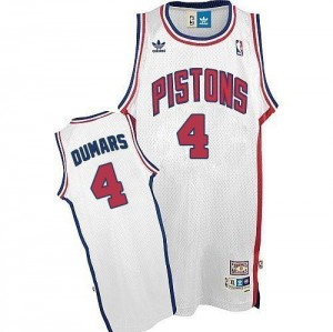 Maillot NBA Detroit Pistons #4 Joe Dumars Blanc Adidas Authentic Throwback - Homme