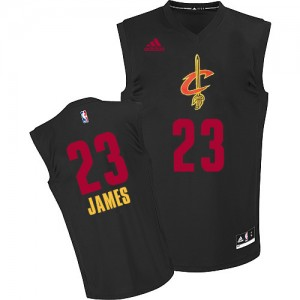 Maillot Authentic Cleveland Cavaliers NBA New Fashion Noir - #23 LeBron James - Homme
