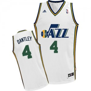 Maillot NBA Utah Jazz #4 Adrian Dantley Blanc Adidas Swingman Home - Homme