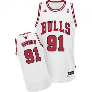 Maillot NBA Chicago Bulls #91 Dennis Rodman Blanc Adidas Swingman Home - Homme