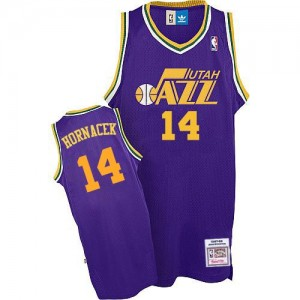 Maillot NBA Violet Jeff Hornacek #14 Utah Jazz Throwback Swingman Homme Adidas
