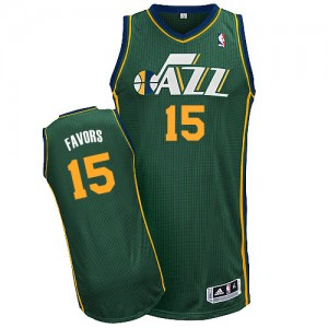 Maillot NBA Utah Jazz #15 Derrick Favors Vert Adidas Authentic Alternate - Homme
