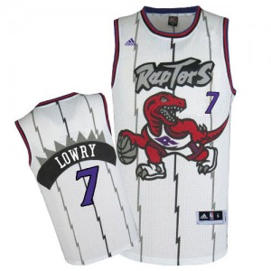 Toronto Raptors Kyle Lowry #7 Throwback Authentic Maillot d'équipe de NBA - Blanc pour Homme