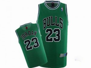 Chicago Bulls Michael Jordan #23 Throwback Authentic Maillot d'équipe de NBA - Vert pour Homme