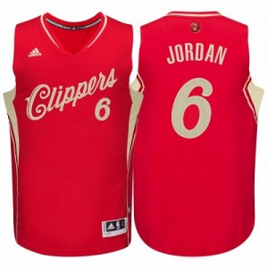 Maillot NBA Los Angeles Clippers #6 DeAndre Jordan Rouge Adidas Authentic 2015-16 Christmas Day - Homme