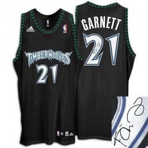 Maillot NBA Authentic Kevin Garnett #21 Minnesota Timberwolves Augotraphed Noir - Homme