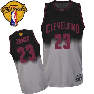 Cleveland Cavaliers LeBron James #23 Fadeaway Fashion 2015 The Finals Patch Authentic Maillot d'équipe de NBA - Gris noir pour Homme