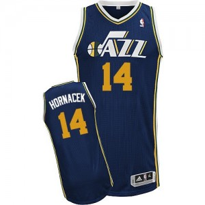 Maillot NBA Utah Jazz #14 Jeff Hornacek Bleu marin Adidas Authentic Road - Homme