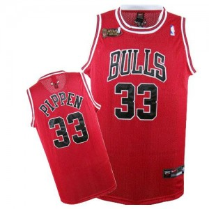 Maillot NBA Chicago Bulls #33 Scottie Pippen Rouge Nike Authentic Champions Patch - Homme