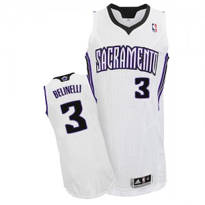 Maillot NBA Sacramento Kings #3 Marco Belinelli Blanc Adidas Authentic Home - Homme