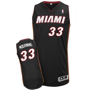 Maillot NBA Miami Heat #33 Alonzo Mourning Noir Adidas Authentic Road - Homme