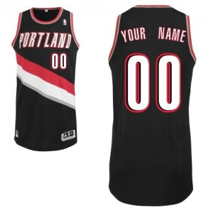 Maillot NBA Noir Authentic Personnalisé Portland Trail Blazers Road Enfants Adidas