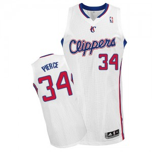 Maillot NBA Blanc Paul Pierce #34 Los Angeles Clippers Home Authentic Homme Adidas
