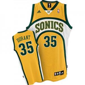 Maillot NBA Oklahoma City Thunder #35 Kevin Durant Jaune Adidas Authentic SuperSonics - Homme