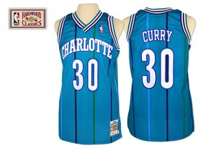 Charlotte Hornets Mitchell and Ness Dell Curry #30 Throwback Authentic Maillot d'équipe de NBA - Bleu clair pour Homme
