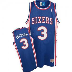 Maillot NBA Bleu Allen Iverson #3 Philadelphia 76ers Throwack Authentic Homme Adidas
