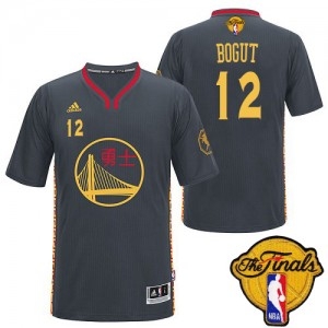 Maillot Authentic Golden State Warriors NBA Slate Chinese New Year 2015 The Finals Patch Noir - #12 Andrew Bogut - Homme