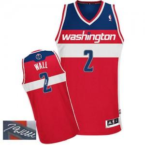 Washington Wizards #2 Adidas Road Autographed Rouge Authentic Maillot d'équipe de NBA 100% authentique - John Wall pour Homme