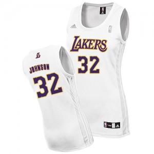 Los Angeles Lakers #32 Adidas Alternate Blanc Authentic Maillot d'équipe de NBA Magasin d'usine - Magic Johnson pour Femme