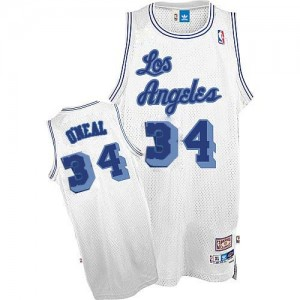 Maillot Nike Blanc Throwback Authentic Los Angeles Lakers - Shaquille O'Neal #34 - Homme