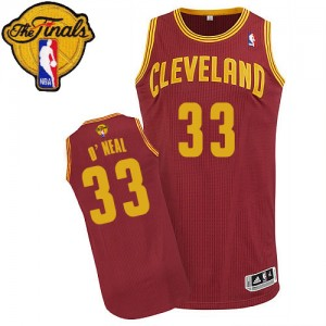 Maillot NBA Cleveland Cavaliers #33 Shaquille O'Neal Vin Rouge Adidas Authentic Road 2015 The Finals Patch - Homme