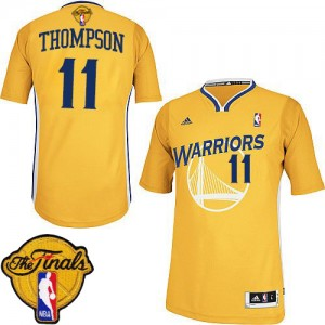 Maillot NBA Golden State Warriors #11 Klay Thompson Or Adidas Swingman Alternate 2015 The Finals Patch - Femme