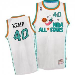 Oklahoma City Thunder Mitchell and Ness Shawn Kemp #40 Throwback 1996 All Star Authentic Maillot d'équipe de NBA - Blanc pour Homme