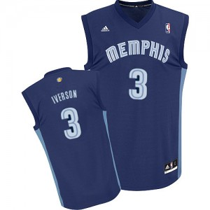 Maillot Adidas Bleu marin Road Swingman Memphis Grizzlies - Allen Iverson #3 - Homme