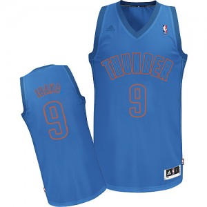 Maillot Adidas Bleu Big Color Fashion Authentic Oklahoma City Thunder - Serge Ibaka #9 - Homme