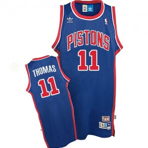 Maillot Adidas Bleu Throwback Authentic Detroit Pistons - Isiah Thomas #11 - Homme