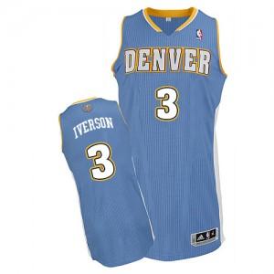 Denver Nuggets Allen Iverson #3 Road Authentic Maillot d'équipe de NBA - Bleu clair pour Homme