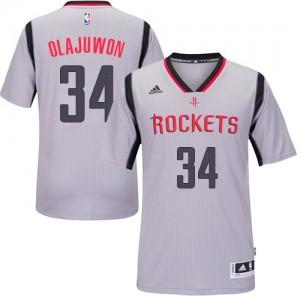 Maillot Adidas Gris Alternate Authentic Houston Rockets - Hakeem Olajuwon #34 - Homme