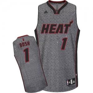 Miami Heat #1 Adidas Static Fashion Gris Swingman Maillot d'équipe de NBA magasin d'usine - Chris Bosh pour Homme