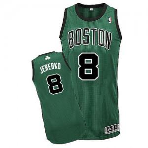 Maillot NBA Boston Celtics #8 Jonas Jerebko Vert (No. noir) Adidas Authentic Alternate - Homme