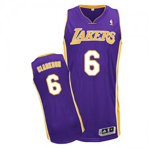 Maillot Authentic Los Angeles Lakers NBA Road Violet - #6 Jordan Clarkson - Homme