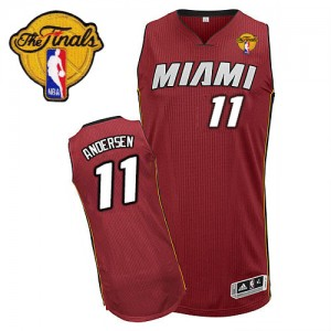 Maillot NBA Rouge Chris Andersen #11 Miami Heat Alternate Finals Patch Authentic Homme Adidas