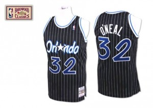 Maillot NBA Noir Shaquille O'Neal #32 Orlando Magic Throwback Authentic Homme Mitchell and Ness