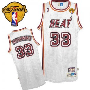 Maillot NBA Miami Heat #33 Alonzo Mourning Blanc Adidas Authentic Throwback Finals Patch - Homme